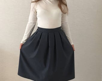 Midi skirt blue wool skirt women skirt high waisted skirt