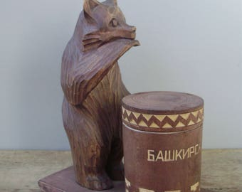 Vintage,Russian wood bear with honey pot,handmade