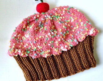 Cupcake Hat with Cherry on Top Milk Chocolate Cake Strawberry Pink Frosting with Sprinkles - baby toddler children adult 3 6 9 12 18 months