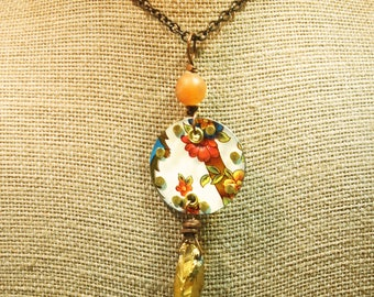 Reversible Upcycled Floral Vintage Tin Necklace