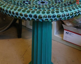 Mosaic Concrete Birdbath in teal, blue, purple and seafoam greens