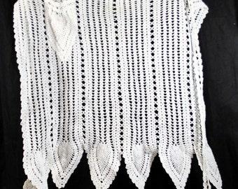 Vintage Crocheted Apron White