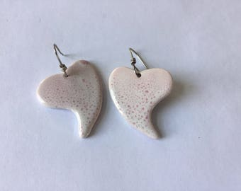 Pink / white porcelain drop earrings with glossy finish