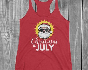 Women's Christmas In July Tank Top Shirt - Santa with Sunglasses in the Summer Sun