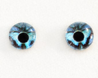 6mm Blue Butterfly Glass Eyes Cabochons - Fantasy Art Supply Eyes for Doll or Jewelry Making - Set of 2
