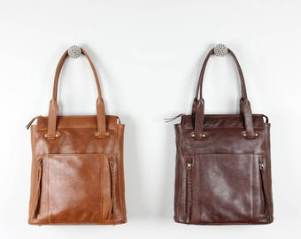 Leather Shopper Tote, Purse, Bag,  Tan and Dark Brown