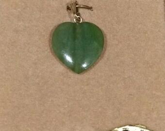 Genuine Jade Heart Stone Pendant