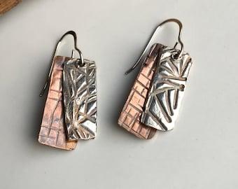 50% OFF Fine Silver Earrings, PMC Earrings, Dangle Earrings, Tribal Earrings, Layered Earrings, Copper and Silver, Industrial, Unique