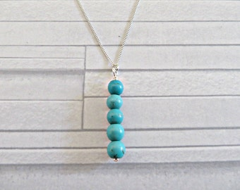 Turquoise necklace, December birthstone necklace, Turquoise bead necklace, Ready to ship, Turquoise and silver, Handmade in the UK