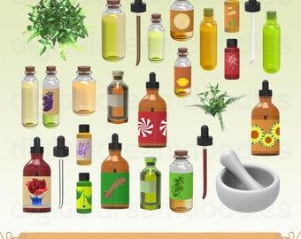 Essential Oil Clipart, Essential Oils Clip Art, Oil Bottle Image, Herbal Oil Graphic, Eco Herbs Scrapbook, Oil Bottles PNG, Digital Download