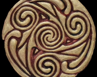 Celtic Wheel II - Cast Paper - Irish Art - Scottish - Celtic Knot Work - Spiral - Triskelion - Triskele
