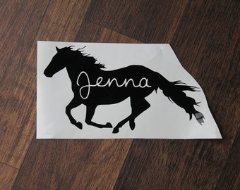 Personalized Running Horse Decal | Personalized Horse Decal | Custom Horse Decal | Equestrian Decal | Horse Decal with Name