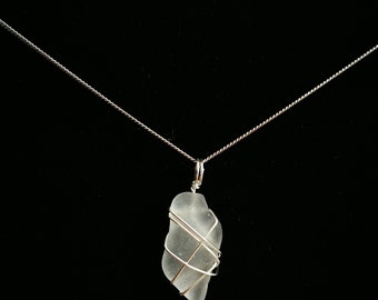 Wire wrapped clear seaglass pendant
