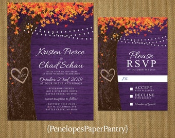 Rustic Purple Fall Wedding Invitation,Oak Tree,Fall Leaves,Carved Heart,Carved Initials,Burnt Orange,Fairy Light,Romantic,Printed Invitation