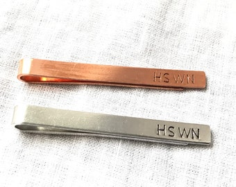 Hand Stamped and Personalised Tie Clip Standard 6cm Size Aluminium or Copper Fab Gift Wedding Gift for Groom, Usher, Best Man Gift