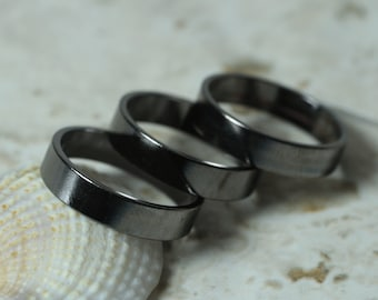 Gun metal finish band ring blank, one piece (item ID FA01264GM)
