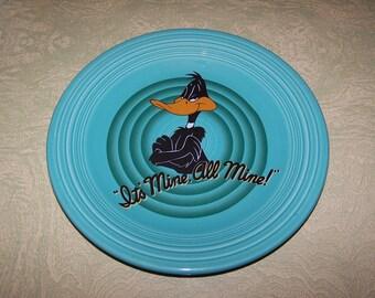 Turquoise Fiesta dinner plate 1994 Warner Brothers Daffy Duck It's Mine All Mine
