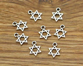100pcs Star of David Charms Antique Silver Tone Findings Jewelry Making 9x12mm cf0343