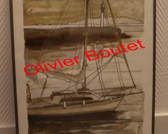 """Peinture """" Le Bateau """" Oeuvre original  40 x 50 cm Olivier BOUTET"""