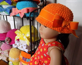 "Cloche Doll Hat - Fits American Girl Doll - 18"" Doll Accessory -  AG Doll Hat - Hand Crochet Doll Hats - Great Gift under 10"