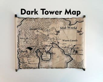 Mid-World Map, The Dark Tower Map Scroll, End-World Map, Handmade Roland's World Map Scroll