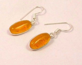 Baltic Amber .925 Silver Plated Handmade Earring Jewelry A907