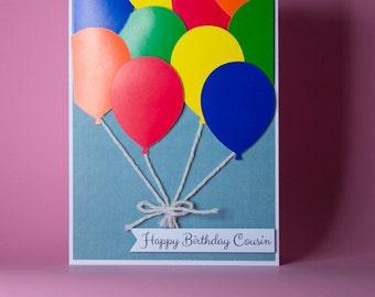 Bunch of Balloons Handmade Birthday Card, balloon birthday card, card for him, card for her, birthday balloons card, bright bunch of balloon