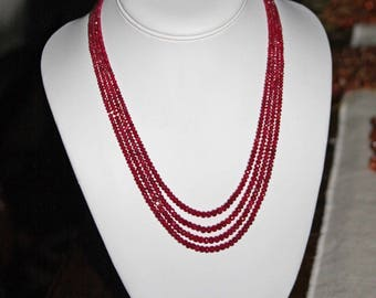 Ruby, Ruby Rondelle, 2-4 mm, Faceted Rondelle, Multi Strand, Graduated Strands, Precious Stone, Natural Ruby, Full Strands, AdrianasBeads