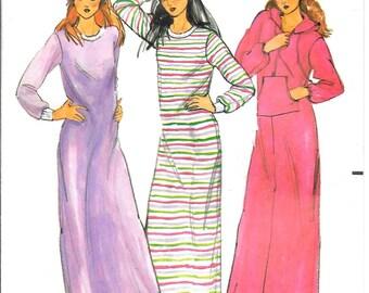 Nightshirt Robe Pattern Hoody Sweatshirt Long Nighty Pajamas Loose Fitting Sleepwear 1970s Butterick 6845 Size 5 Small