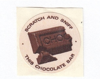 SALE Chocolate Bar Scratch and Sniff Vintage Mello Smello Sticker - 80's Cocoa Scented Collectible