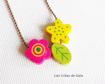 Necklace cherry • wood and metal • stackable children necklace, jewelry colorful playful Look •