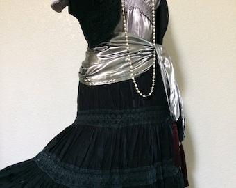 Medium Vintage Fortune Teller Halloween Costume Silver & Black  -  Pirate Costume
