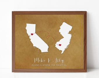 Two State Silhouette Map Print - Custom Going Away Gift - Moving Gift - Long Distance Relationship - Personalized State Silhouette Print