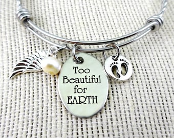 Too Beautiful for Earth  Bracelet or Necklace - Memorial  Remembrance  - Custom Personalized Engraved Jewelry