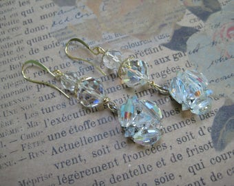 Vintage Assemblage Earrings, Wedding, Bride, Dangle,Drop, Repurposed Jewelry, Recycled Upcycled, Crystal Beads, Vintage Earrings /E39