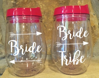 Bride Tribe Bev2Go Stemless Wine Tumbler with straw Cups Bachelorette Bridal Party
