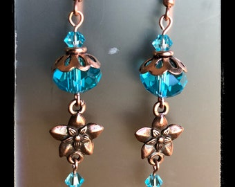 COPPER TURQUOISE EARRINGS flower dangles