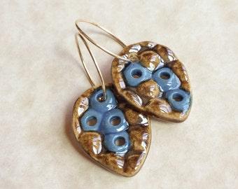 Blue and Brassy Porcelain Earrings, Blue Earrings, Porcelain Earrings, Gold Filled Hoops, Handcrafted Porcelain, Ceramic Earrings, Earrings