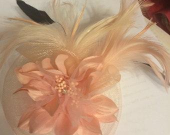 PINK Horsehair Feather Flower Fascinator Brooch Pin!