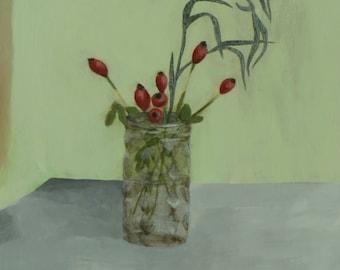 Rosehips - Original Painting by Elizabeth Bauman