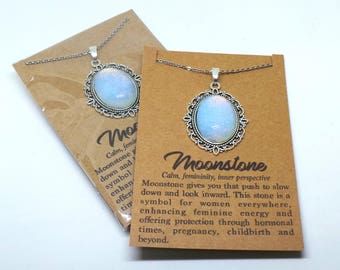 Moonstone Gemstone Necklace. Vintage Style Cameo Pendant. Natural Crystal Healing. Gift for Her.