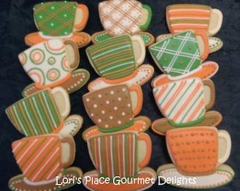 Tea Cup Cookies - Fall Tea Cookies - 12 Cookies
