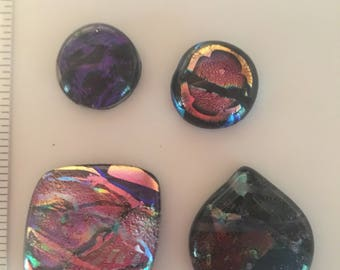 Glass fused glass cabochons, set of four, destash.