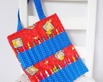 Bob the Builder Crayon Bag Coloring Tote Kids Travel Ready to Ship Car Trip Idea Quiet Time Activity Toddler Boy Gift