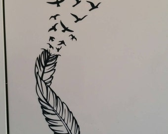 Feather bird fly free permanent decal