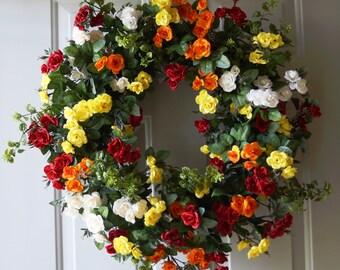 Roses Wreath, Large Summer Wreath, Red Yellow Orange Cream Roses Wreath for Front Door