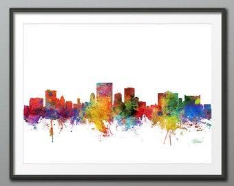 El Paso Skyline, El Paso Texas Cityscape Art Print Poster (3982)
