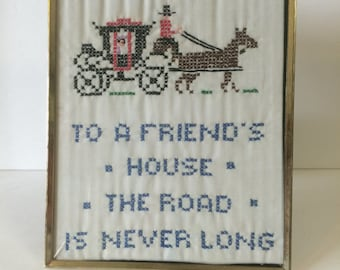 Friends Quote Cross-Stitched Wall Art Framed