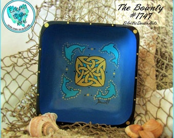 Dolphins with Celtic Knot Bowl, Handpainted Wood, *blue and gold* The Bounty: #1747