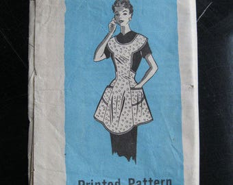 1950s Vintage Apron Pattern, The Prairie Farmers 9249, Mail Order Printed Pattern, Full, Bib, Yoke, Shaped Hem